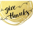 Thank you hand lettering on splash golden textured vector image