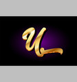 u alphabet letter golden 3d logo icon design vector image vector image