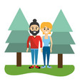 woman and man couple with casual clothes vector image vector image