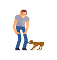 young man with his dog vector image vector image