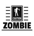 zombie danger logo simple black style vector image vector image