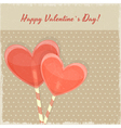 Retro Valentines Day Card with Sweet Hearts vector image