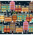 Winter houses seamless night vector image