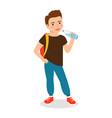 cartoon little boy drinking clean water vector image