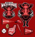 african wild boar mascot set vector image