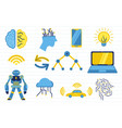 ai artificial intelligence with various objects vector image vector image