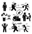 big fat lazy police cop stick figure pictograph vector image vector image