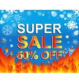 Big winter sale poster with SUPER SALE 50 PERCENT vector image vector image