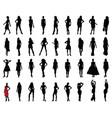 black silhouettes beautiful girls vector image