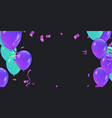 blue balloons party flying purple realistic vector image