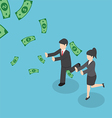 Business people chasing falling dollar money vector image vector image