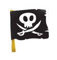 cartoon style grunge traditional black pirate flag vector image