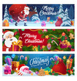 christmas santa gifts and pine tree vector image vector image