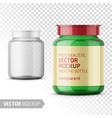 clear glass medicine bottle template with label vector image