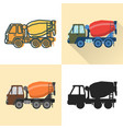 concrete mixer truck icon set in flat and line vector image