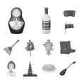 country russia travel monochrome icons in set vector image