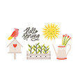 decorative postcard template with hello spring vector image vector image