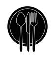 dish with cutlery set isolated icon vector image vector image