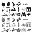 fitness and attributes black icons in set vector image vector image