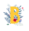 floral alphabet letter b vector image vector image