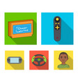 game console and joystick flat icons in set vector image