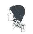 girl in a hat vector image vector image