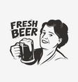 happy woman holding a beer mug retro vector image vector image