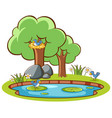 isolated picture birds and pond vector image vector image