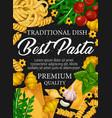 italian pasta spaghetti and fusilli with spices vector image vector image