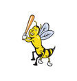 Killer Bee Baseball Player Batting Isolated vector image vector image