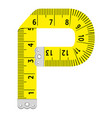 letter p ruler icon cartoon style vector image