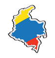 map of colombia with its flag vector image vector image