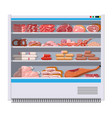 meat products in supermarket fridge vector image vector image