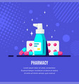 medicine bottle spray and pills on blue vector image vector image