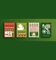 merry christmas folk art forest bird deer card set vector image