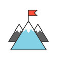 mountain and flag goal for successful concept vector image