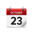 October 23 flat daily calendar icon Date vector image vector image