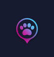 paw and location mark pet app logo vector image vector image