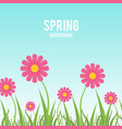 pink flower and blade of grass with a sky blue vector image