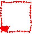 red retro photo frame made of hearts with arrow vector image