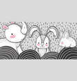 rhyno with rabbit and mouse animals with mountains vector image