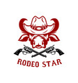rodeo star buffalo head in cowboy hat design vector image