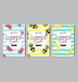 set summer sale fresh fruits lettering badge vector image vector image
