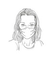 sketch woman portrait in medical face mask vector image