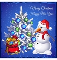 Snowman with tree and red sack with gifts vector image vector image