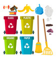 sorting and cleaning garbage recycle bins vector image