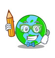 student with pencil world globe character cartoon vector image