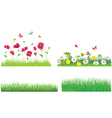 The Green Grass and Flowers Set vector image