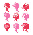vintage silhouette cameo women paper cut set vector image vector image