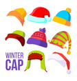 winter cap set cold weather headwear hats vector image